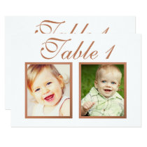 Wedding Photo Table Number Cards | Elegant Copper