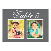Wedding Photo Table Number Cards | Elegant Gray