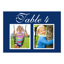 Wedding Photo Table Number Cards | Elegant Navy