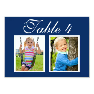 Wedding Photo Table Number Cards | Elegant Navy