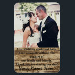 "Wedding Photo Template Thank you Magnet<br><div class=""desc"">This wedding magnet is a great and easy way to thank your guests for attending your wedding without having to handwrite messages. This thank you gift will be long lasting and memorable for your guests,  a memento they can keep forever.</div>"