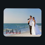 "Wedding Photo Text Thank You Magnet<br><div class=""desc"">A photo thank you with thank you text in stylish typography with a garland of pink and red hearts.  Created with artwork by &#169;Trina Clark www.digiscrapkits.com</div>"