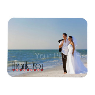 Wedding Photo Text Thank You Rectangular Photo Magnet