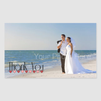 Wedding Photo Text Thank You Rectangular Sticker