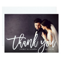 Wedding Photo Thank You | Brush Lettered Script Invitation