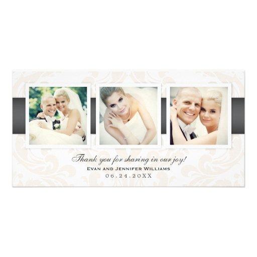 Wedding Photo Thank You Cards | Three Photos Photo Greeting Card