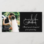 """Wedding Photo Thank You Cards with Monogram Black<br><div class=""""desc"""">Wedding Thank You Photo Cards with Monogram, Bride and Groom Names and Thank You Message. Design by Elke Clarke &#169;2009. Customize this elegant monogram card by adding your wedding photo and writing your personal &quot;Thank You&quot; message. After adding your image, drag it to the bottom of the list of customized...</div>"""