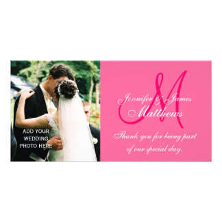 Wedding Photo Thank You Cards with Monogram Pink Photo Card