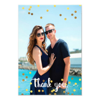 Wedding  Photo Thank You Faux Gold Foil Confetti Card