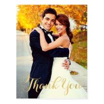 Wedding Photo Thank You   Gold Script Postcard