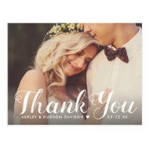 Wedding Photo Thank You in Script Postcard