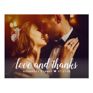 Wedding Photo Thank You   Love and Thanks Postcard