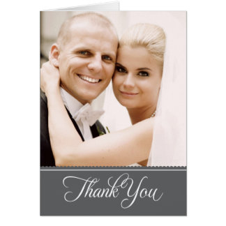 Wedding Photo Thank You Note Cards   Dark Gray Greeting Cards