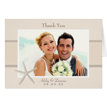 Beach Themed Wedding Photo Thank You Note Cards | Starfish Sand