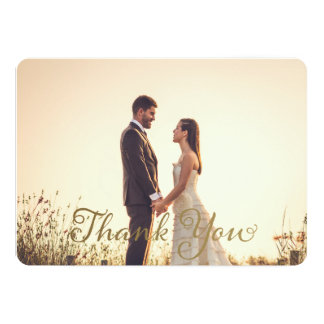 Wedding Photo Thank You Note, Faux Gold Effect Card