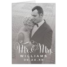 Wedding Photo Thank You Note   Sepia Folded Style Card