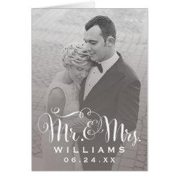 Wedding Photo Thank You Note | Sepia Folded Style Card