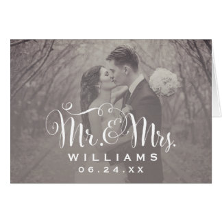 Wedding Photo Thank You Note | Sepia Folded Style Card