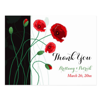 Wedding PHOTO Thank You Postcard | Red Poppies