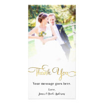 Wedding Photo Thank You Shiny Faux Gold Foil Card