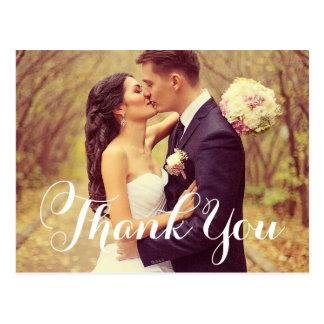 Wedding Photo Thank You   White Elegant Script Postcard