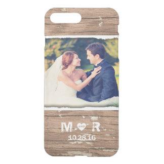 Wedding Photo Wood Rustic Country Monogram iPhone 7 Plus Case