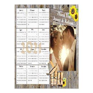 Wedding Photo Yellow Sunflowers Mini 2021 Calendar Magnetic Invitation
