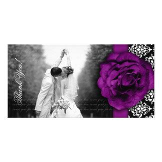 Wedding Photocard Purple Rose Damask Black White Card