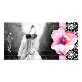 Wedding Photocard Rose Damask Pink Card