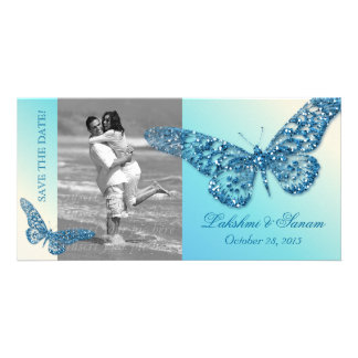 Wedding Photocard Save the Date Butterfly Blue Photo Card