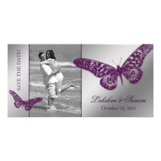 Wedding Photocard Save the Date Butterfly Purple Photo Card