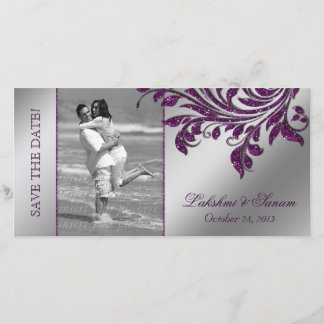 Wedding Photocard Save the Date Leaf Purple Silver
