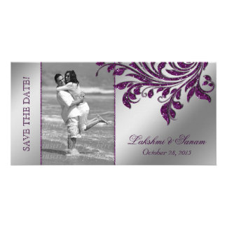 Wedding Photocard Save the Date Leaf Purple Silver Photo Card