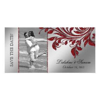 Wedding Photocard Save the Date Leaf Red Silver Photo Card