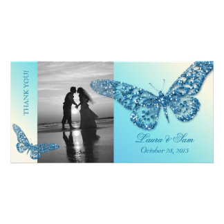 Wedding Photocard Thank You Butterfly Blue Photo Card