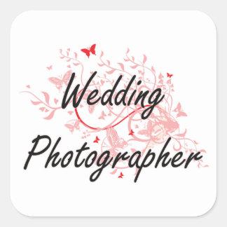 Wedding Photographer Artistic Job Design with Butt Square Sticker