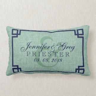 Wedding Pillow Ming-Green Linen And Blue Frame