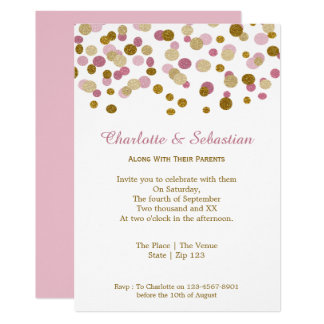 Wedding Pink And Gold Faux Glitter Dots Card