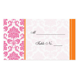 Wedding Pink and Orange Damask Table Place Card Double-Sided Standard Business Cards (Pack Of 100)
