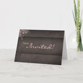 Wedding Pink Brown Invitation Card card