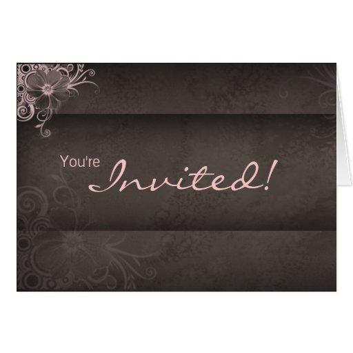 Wedding Pink Brown Invitation Card