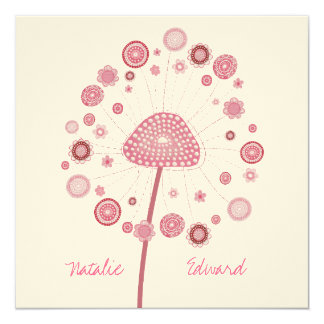 Wedding Pink Dandelion Custom Made Invitation