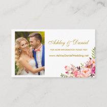 Wedding Pink Floral Photo Website Insert Card