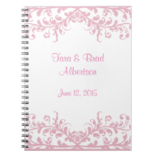 Wedding, Pink Flourish Guest Sign in Book