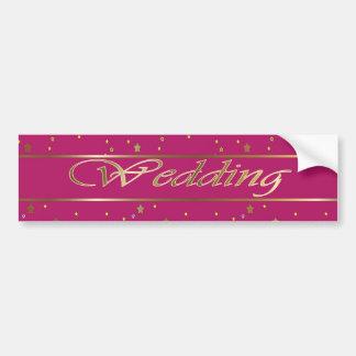 Wedding Pink Golden Bumper Sticker