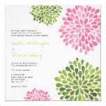 "Wedding Pink & Green Flower Blooms Invitation 5.25"" Square Invitation Card"