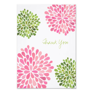 Wedding Pink & Green Thank You Note Linen Cards Personalized Invitation
