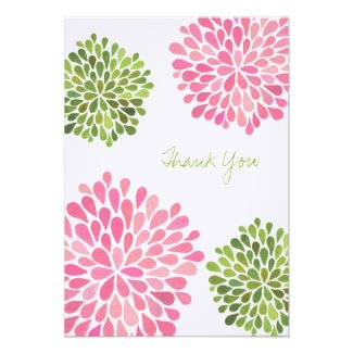 Wedding Pink & Green Thank You Note Linen Cards Custom Invites
