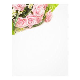 wedding pink rose paper flyer