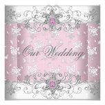 Wedding Pink Silver White Diamond Jewel Lace Custom Announcements